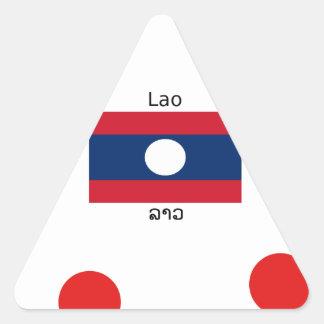 Adesivo Triangular Língua (Laotian) do Lao e bandeira de Laos