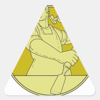 Adesivo Triangular Linha do círculo do formão do escultor do