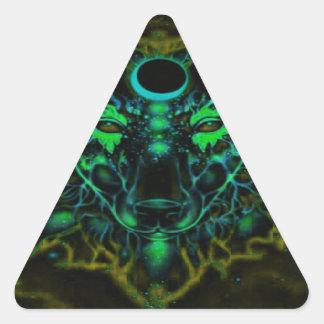 Adesivo Triangular Lobo amarelo de néon Mythical