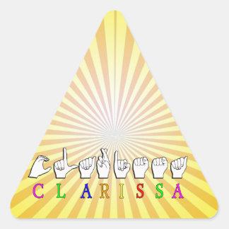 ADESIVO TRIANGULAR LOJA DE CLARISSA FINGERSPELLED ASL
