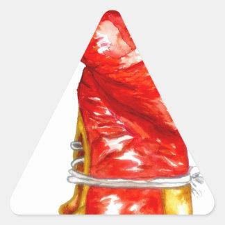 Adesivo Triangular Luva de encaixotamento vermelha