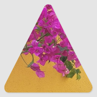 Adesivo Triangular Luz do sol amarela do arco da flor do rosa da