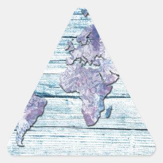 Adesivo Triangular madeira 14 do mapa do mundo