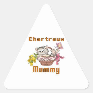 Adesivo Triangular Mamã do gato de Chartreux