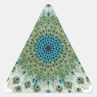 Adesivo Triangular Mandala colorida do pavão masculino