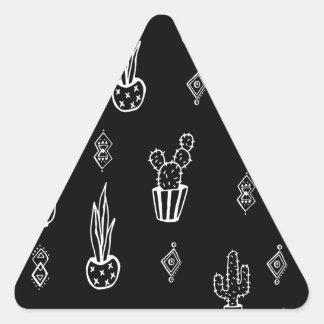 Adesivo Triangular Mão preto e branco do cacto de Boho tirada