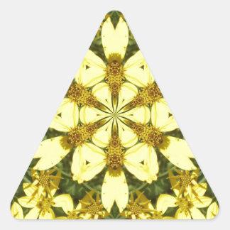 Adesivo Triangular margaridas abstratas florais amarelas do design
