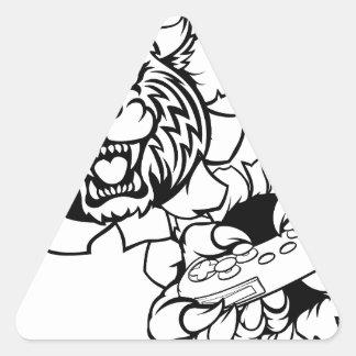 Adesivo Triangular Mascote desorganizada do Gamer de Esports do lince