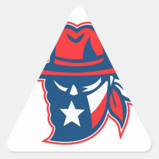 Adesivo Triangular Mascote foragido da bandeira de Texas do Texan