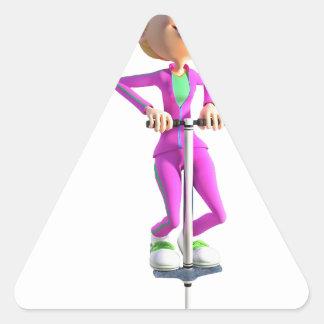 Adesivo Triangular Menina dos desenhos animados que monta uma vara de