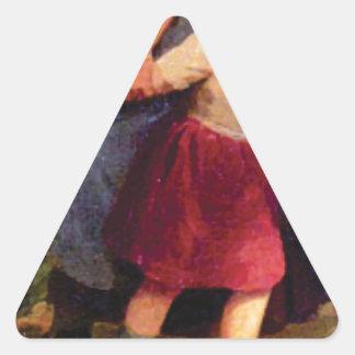 Adesivo Triangular menina scared