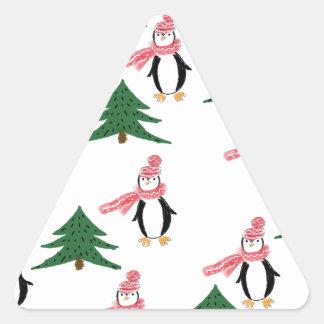 Adesivo Triangular Muffin do pinguim do Natal