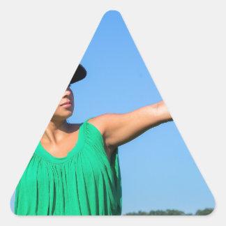 Adesivo Triangular Mulher com da luva e do boné basebol de jogo fora