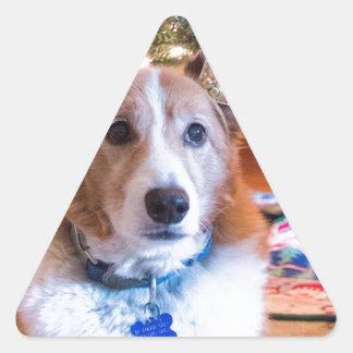 Adesivo Triangular Natal do Corgi de Galês do Pembroke