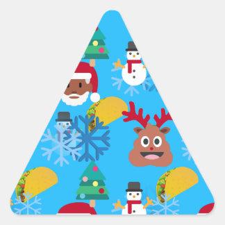 Adesivo Triangular Natal preto do taco do papai noel