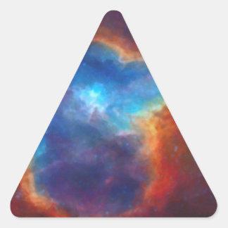 Adesivo Triangular Nebulosa galáctica abstrata com nuvem cósmica 4a