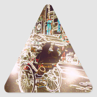 Adesivo Triangular Noite do rickshaw de Tokyo
