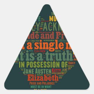 Adesivo Triangular Nuvem da palavra do orgulho e do preconceito