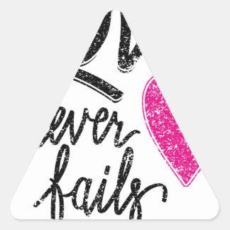 Adesivo Triangular o amor nunca falha, coração do vintage