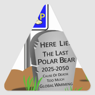 Adesivo Triangular O aquecimento global, RASGA o urso polar 2050