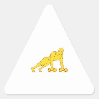 Adesivo Triangular O atleta da malhação levanta o desenho do Dumbbell
