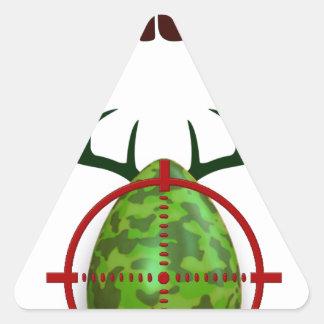 Adesivo Triangular O caçador perito da páscoa, cervo do ovo visa o