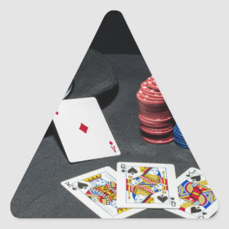 Adesivo Triangular O póquer carda o chapéu do gângster