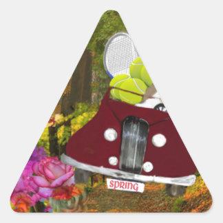 Adesivo Triangular O primavera traz a alegria ao esporte do tênis