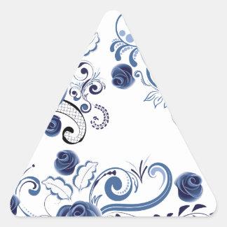 Adesivo Triangular Ornamento florais azuis