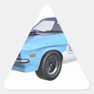Adesivo Triangular os anos 70 azuis e carro branco do músculo