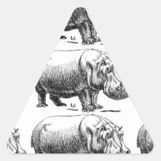 Adesivo Triangular ouro do hippopotamus