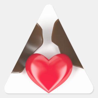 Adesivo Triangular Ovo e coração de chocolate