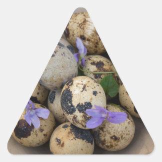 Adesivo Triangular Ovos de codorniz & flores 7533