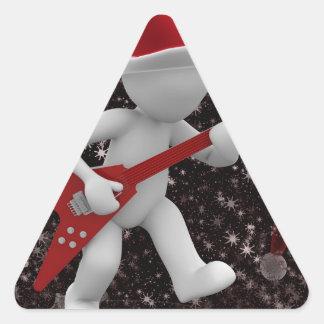 Adesivo Triangular papai noel rockstar