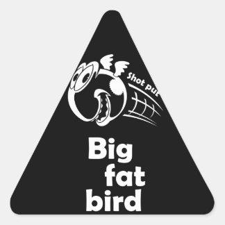Adesivo Triangular Pássaro psto tiro gordo grande