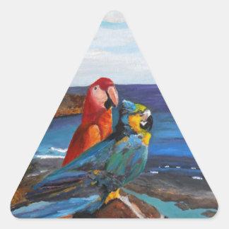 Adesivo Triangular Pássaros tropicais que negligenciam a baía