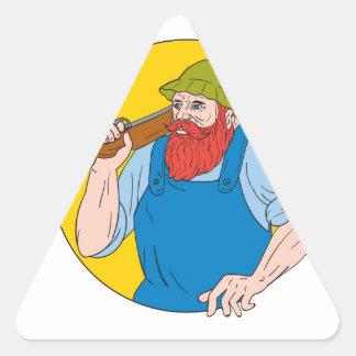 Adesivo Triangular Paul Bunyan o desenho do círculo do caçador