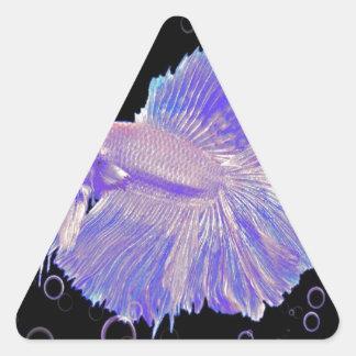 Adesivo Triangular Peixes de combate roxos iridescentes