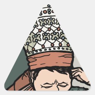 Adesivo Triangular Pensamento asiático central da mulher (no chapéu)