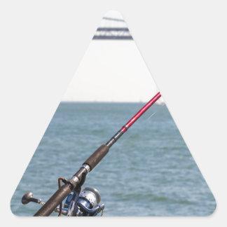 Adesivo Triangular Pesca Rod no cais em San Francisco Bay