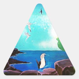 Adesivo Triangular Pintura azul dos pássaros de vôo do oceano