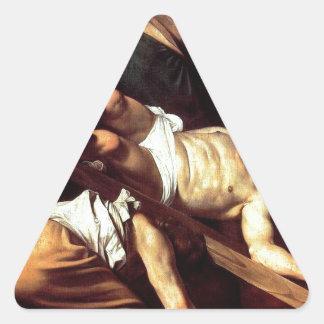 """Adesivo Triangular Pintura original """"La crocifissione di s Pietro """""""
