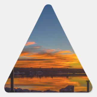 Adesivo Triangular Por do sol da baía de Liverpool