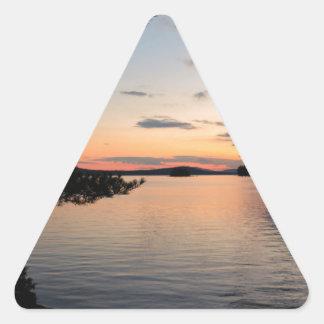 Adesivo Triangular Por do sol sobre o lago Maine Millinocket da ilha
