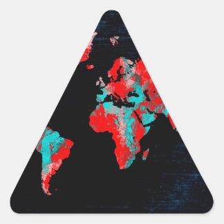 Adesivo Triangular preto vermelho do mapa do mundo