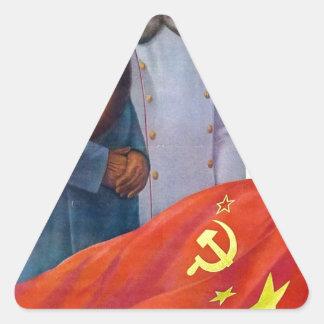 Adesivo Triangular Propaganda original Mao Zedong e Josef Stalin