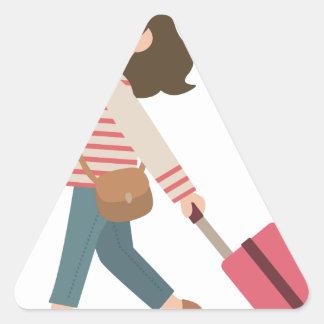 Adesivo Triangular Puxando a bagagem
