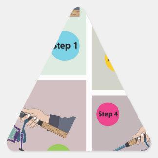 Adesivo Triangular Quatro etapas para moldar a haste de giro com