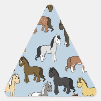 Adesivo Triangular Rebanho bonito dos cavalos