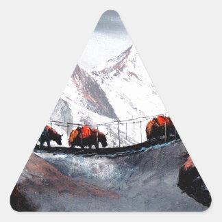 Adesivo Triangular Rebanho de iaques Himalaya da montanha